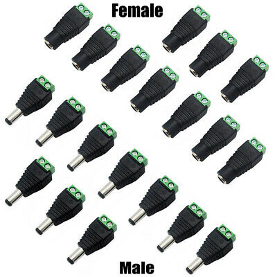 10Pcs New DC 12V Power Plug Adapter Connector M/F For 5050 3528 LED Strip Powers
