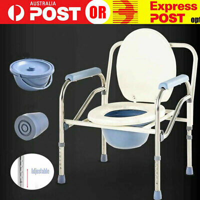 Commode Chair, Comfort Grips, Fold-able, Height Adjustable Toilet Seat HTC030650