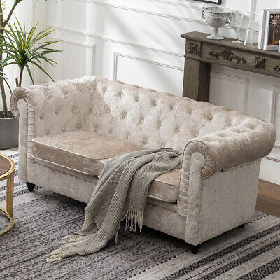 Crushed Velvet Chesterfield Sofa Club Chair Settee Couch 2 Seater Loveseat Sofas
