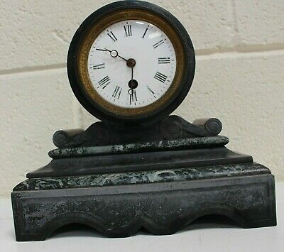 Antique Black 19th Century French Slate Eight Day Marble Mantel Clock - 254