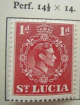 ST. LUCIA POSTAGE STAMP 1945-48 New perforation 14 1/2 by 14 One Penny MH