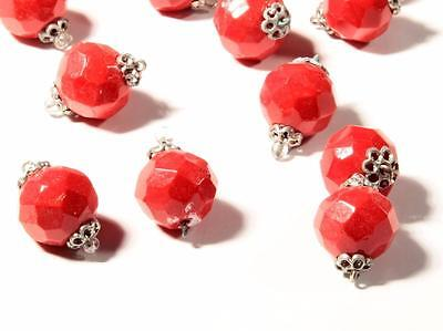Lot (14) 13mm vintage Deco Czech red faceted wired connector glass beads