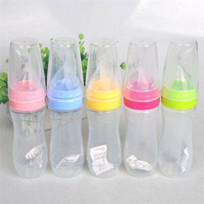 240ml Baby Squeeze Feeding Bottle With Spoon Food Rice Cereal Feeder CB