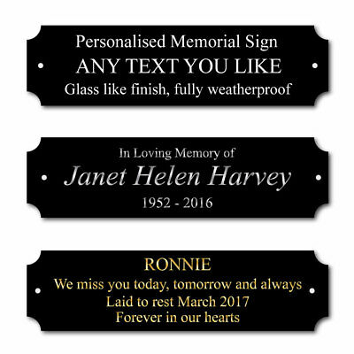 Black Personalised Memorial Plaque, Bench In Memory of Sign, Grave marker