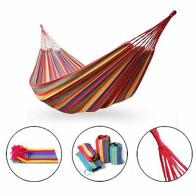 Hanging Hammock Portable Cotton Rope Camping Swing Canvas Bed Outdoor Fabric hot