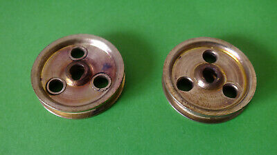 (2) 2x Meccano Part 22a: 1'' pulley without boss,  three holes, tongue key fixin
