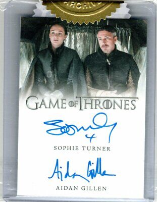 Game Of Thrones Season 5 Sophie Turner Aidan Gillen Dual Autograph 6 Case Incenv