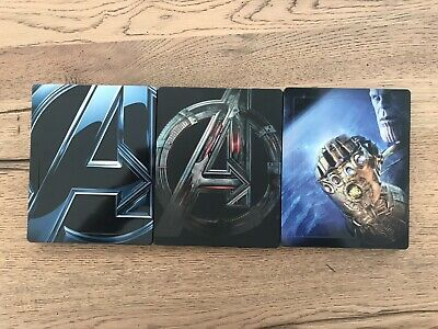 Avengers Steelbook - 1 - 2 Age Of Ultron - 3 Infinity War Bluray + 3D