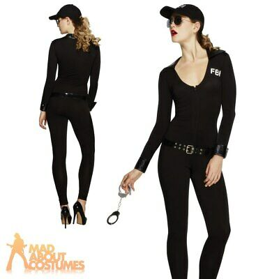 fceac6f577 Adult Ladies Fever FBI Flirt Police Costume Body Suit Womens Fancy Dress  Outfit