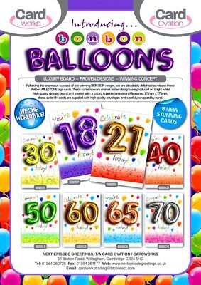 20p! ONE DAY WONDER! 'BALLOON LOOK CARDS' x 96, MILESTONE AGES 18 - 70, wrapped