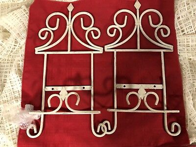 Pair Of Vintage White Wrought Iron Decorative Wall Decor Plate Holders