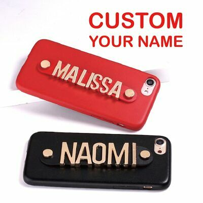 Real Leather Metal Letters Luxury Custom Personalized Name Text Case For iPhone