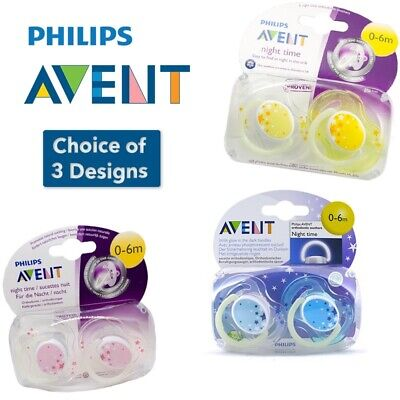 Avent Night Time Soother Twin Pack 0-6m CHOICE OF COLOUR (A49)