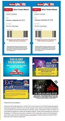 2 X Alton Towers Tickets for SATURDAY  28/09/2019 28 SEPTEMBER 2019