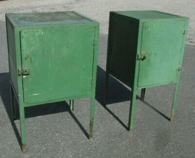 2 x Vintage Metal Industrial Cupboards Bedside Cabinets  Factory Furniture Green