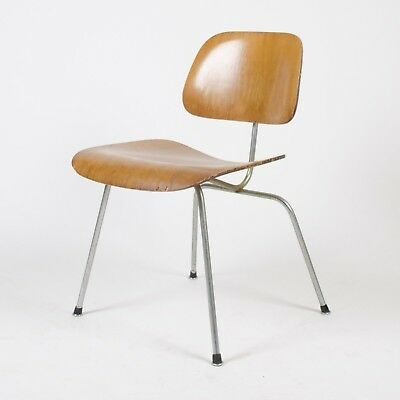 Eames Herman Miller 1954 DCM Dining Chair Calico Ash Boot Glides
