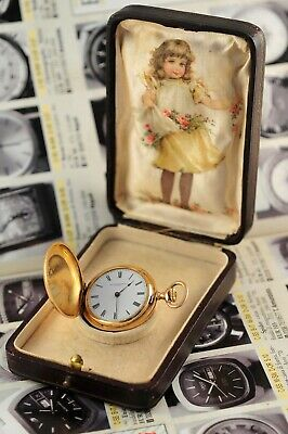 Antique Swiss Patek Philippe Ladies Pocket Watch 32.8mm 18K Gold 3 Covers 1928