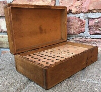 Antique Hand Made Quality Solid Wood Hinged Box Router Bits Vintage