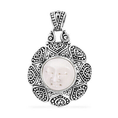 Bali Goddess Collection Carved Bone Sterling Silver Pendant without Chain