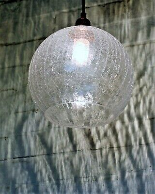 A Large Antique Design Crackle Glass Globe Ceiling Light Copper Coated Fittings