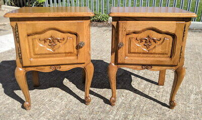 Amazing Pair French Oak Antique Bedside Tables Cupboards Cabinets Louis XVI