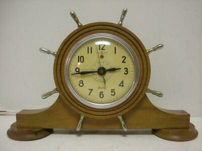 Vintage General Electric Nautical Mantle Alarm Clock Model 7H94 Admiral Mint Ln