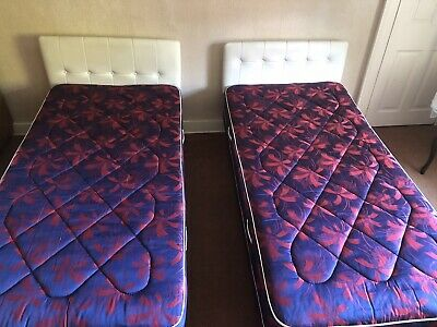 Pair Of Single Beds With Mattresses And Headboards - Vintage!