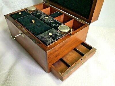 Antique Walnut Work Box with Fitted interior, Mother of Pearl Detail and Key
