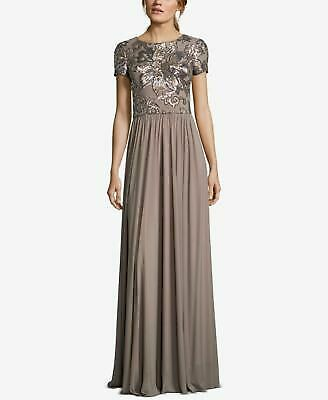 b92a66cb8447 BETSY & ADAM $249 Womens New 1493 Brown Sequin Embellished Gown 8 Petites  ...