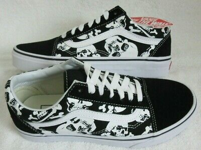 VANS Womens Old Skool Large Logo True White Leather Canvas Skate Shoes Size 7
