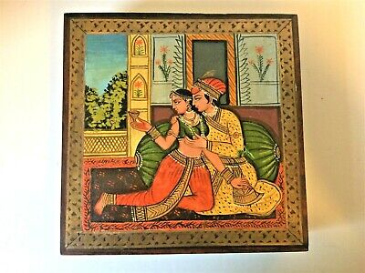 Vintage Indian Wooden Brass Inlaid Pictorial Hand Painted Box