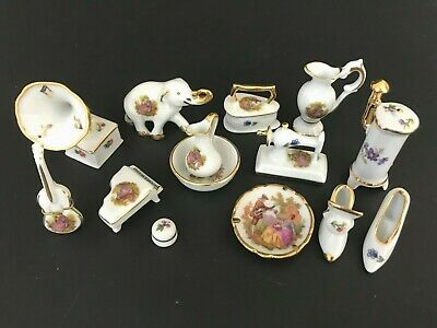 Limoges France White 22K Gold Painted Mini Figurine Music Furniture Doll House
