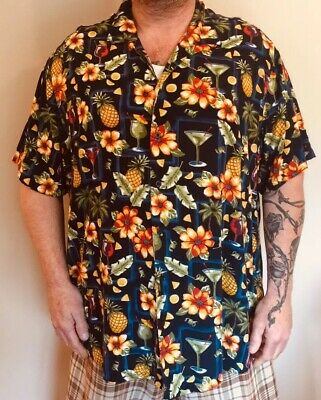 4517baa7 Men's 3X Hawaiian Shirt Tropical Luau Beach Aloha Flowers Martinis  Pineapples