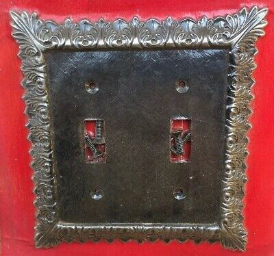 Vintage Dexter Co Antique Pewter Double Gang Light Switch Wall Cover Plate NOS