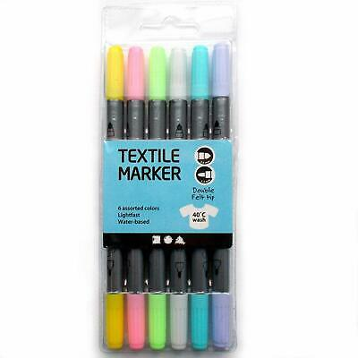 Creativ Fabric Textile Markers Double Nib Tip Assorted Pastel Colours 6 Pack
