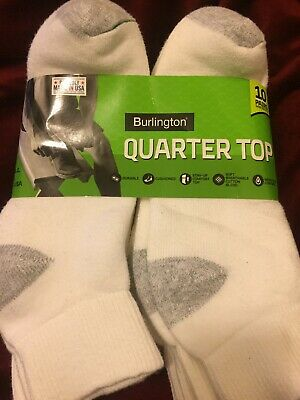 Burlington Men's Cotton Quarter Socks Comfort Power 10-Pack, White Shoe 6-12