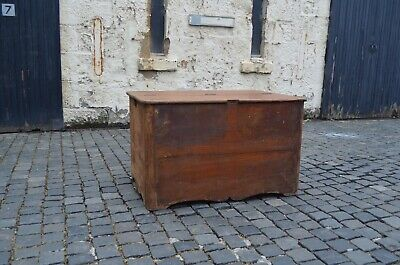 Large Antique Georgian Solid Mahogany Wooden Chest Blanket Tack Box