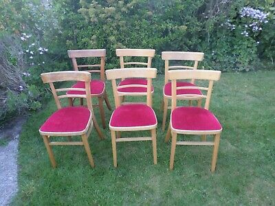 Set of 6 Mid Century Beech Framed Bentwood Chairs Circa 1930