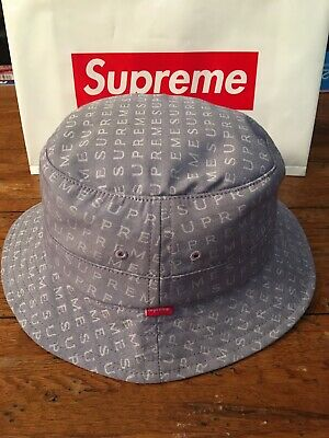 3f13fc3078601 Supreme Crusher Bucket Hat Slate White Made In USA Size M L CDG RARE