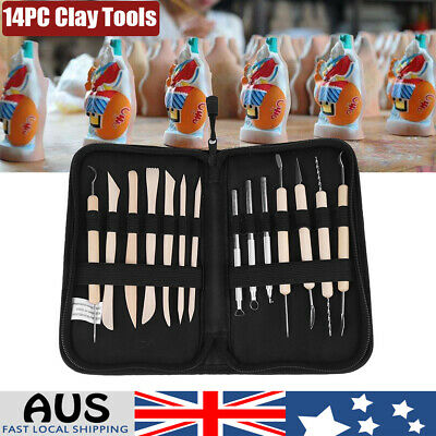 14PC Clay Sculpting Pottery Carving Tool Set Shaper Modelling Sculpture Kit AU