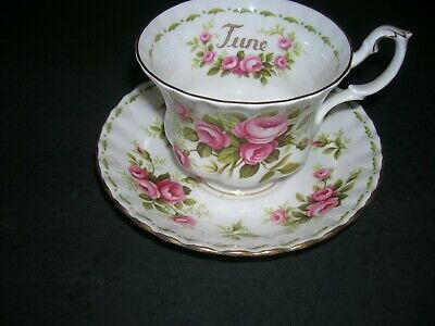 Royal Albert Bone China Tea Cup, Saucer Flower of The Month June Roses England