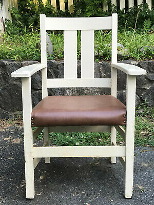 L & JG Stickley Oak Mission Arts & Crafts Dining Arm Chair - PAINTED WHITE
