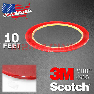 """Genuine 3M VHB # 4905 Clear Double-Sided Tape Mounting Automotive 1/4"""" x 10FT"""