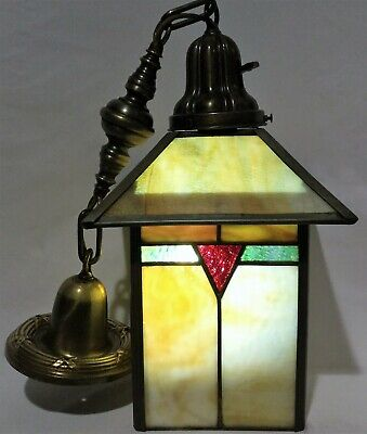 Antique c1905 Early Arts & Crafts Pendant Light Lantern Brass Stained Slag Glass