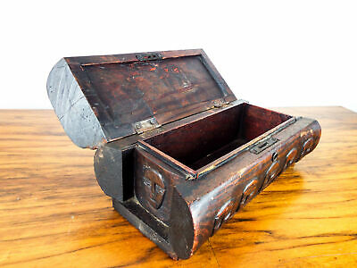 Vintage Tribal Wooden Jewelry Box Handmade Carved Wood Jewellery Safe Hinged