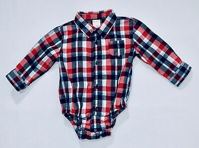 """Gymboree """"All Star Champ"""" Red White Blues Plaid Button Front Bodysuit, 6-12 mos."""