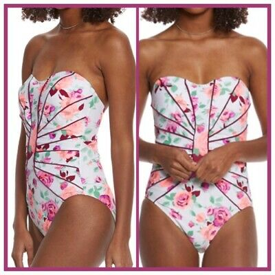 4021368c8a109 NWT Womens BETSEY JOHNSON One Piece PRISONER OF LOVE SLIMMING SWIMSUIT S 4  6 NEW