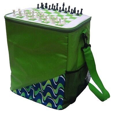 Large Insulated Picnic Cooler Bag Chess Board Top 30x30x38cm 25 lt Top Quality