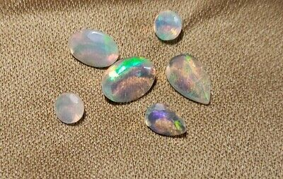 6 Faceted Ethiopian Opals, Amazing Color Play 2.90Cts,