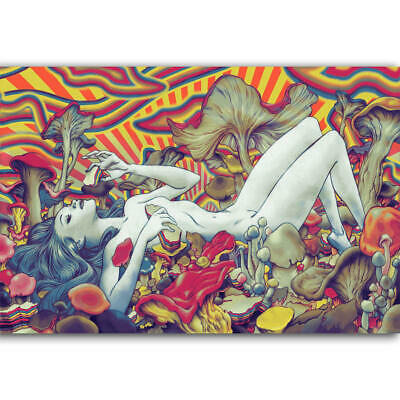 D-187 Psychedelic Trippy Girl Beauty Mushroom Artist Poster Art Silk 21 24x36inc